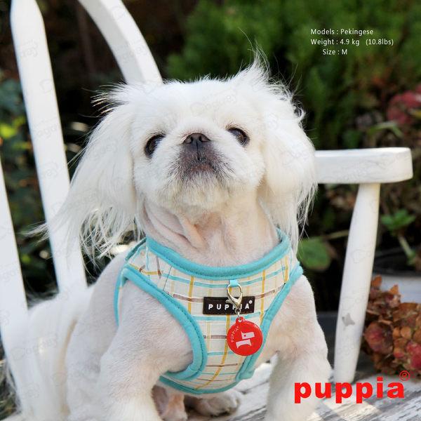 狗日子《Puppia》秀麗格紋胸背B組 S/M號附《同款設計牽繩》完美搭配高價值 蜜桃/粉藍 胸背帶項圈