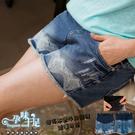 下擺抽鬚優雅小鑽印花孕婦【腰圍可調】牛仔短褲 藍【COA252102】孕味十足 孕婦裝