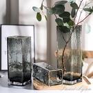北歐輕奢描金簡約幾何玻璃花瓶透明水培花器現代插花家居客廳擺件 范思蓮恩