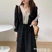 蕾絲洋裝 韓國chic法式復古顯瘦V領蕾絲拼接荷葉邊提花收腰連身裙長裙女 曼慕