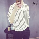 最新說男士韓版日系復古襯衫領絲滑雪紡條紋歐美風短袖Polo衫潮男