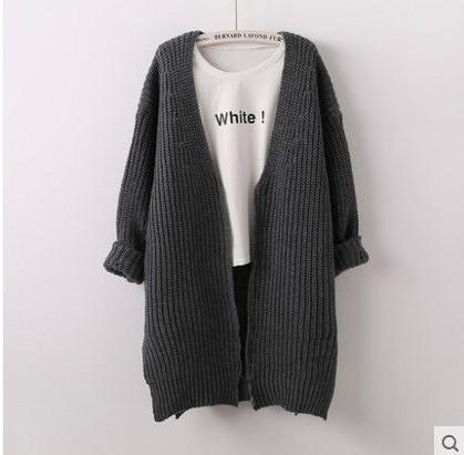 中長款修身顯瘦 V領純色系毛衣開衫外套