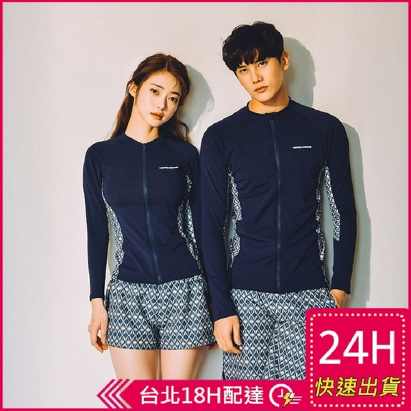 【現貨】梨卡 - 男款加大尺碼多件式長袖三件式衝浪衣潛水服泳衣套裝泳裝泳衣CR675-1