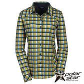 PolarStar 女 針織格子長袖襯衫 『土黃』P15214