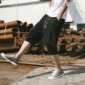 (快出)沙灘褲夏季短褲男士亞麻沙灘褲薄款韓版潮流寬鬆休閒大碼棉麻沙灘7分褲