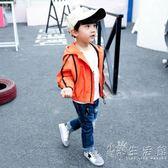 童裝男童外套新款韓版兒童秋款夾克小男孩洋氣連帽純色寶寶潮   小時光生活館