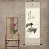 山水畫荷花蜻蜓絲綢國畫捲軸掛畫家居裝飾古色古香  IGO