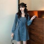 收腰顯瘦復古牛仔短裙子春季2021新款韓版氣質單排扣長袖連身裙女 童趣屋  新品