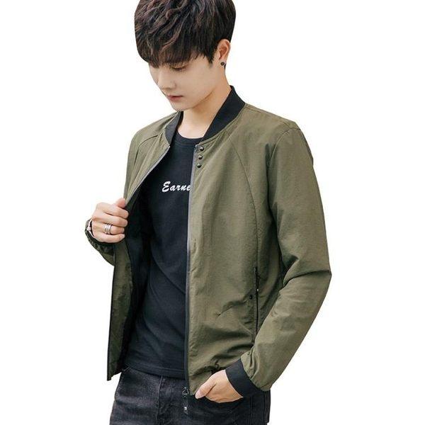 夾克外套男 韓版休閒男裝秋款男修身薄款飛行員短款棒球服 立領外套《印象精品》t7740