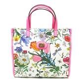 GUCCI 古馳 白色/亮粉紅帆布手提斜背兩用包 Flora Tote Bag 550141【BRAND OFF】