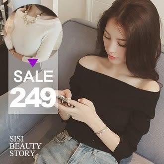 SISI【L5053】性感優雅 韓版一字領螺紋針織衫上衣 露肩顯瘦羅紋緊身T