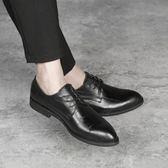 男皮鞋 正裝皮鞋 尖頭男士皮鞋特大碼英倫商務男鞋子《印象精品》q611