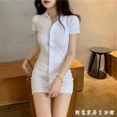 白色修身性感心機洋裝女裝2020夏季新款韓版小個子緊身包臀短裙 聖誕節免運