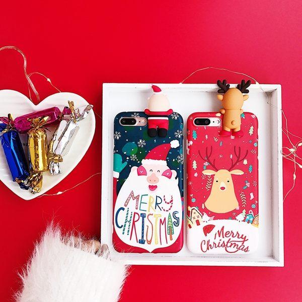 【SZ25】iPhoneX手機殼 新款聖誕節趴趴老人麋鹿情侶 iPhone7/8plus手機殼 iPhone6s手機殼