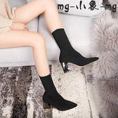 襪靴-歐美粗跟毛線針織彈力靴高跟中筒靴女靴
