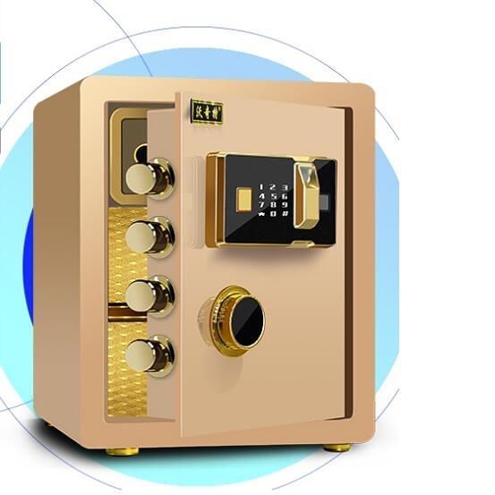 沃奇特全鋼保險柜家用指紋床頭迷你入墻衣柜隱形小型保險箱辦公室型平門電子密碼防
