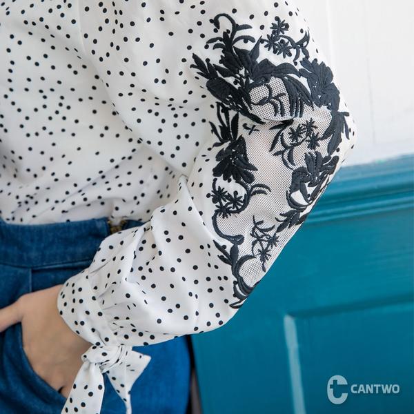 CANTWO平口雪紡繡花上衣-共三色