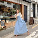 正韓 牛仔吊帶裙 長裙 牛仔 洋裝 傘狀大裙襬 吊帶裙 牛仔裙 寬鬆 顯瘦 韓國 NXS