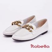 itabella.復古主義 經典金屬扣牛皮平底鞋(9204-80米色)
