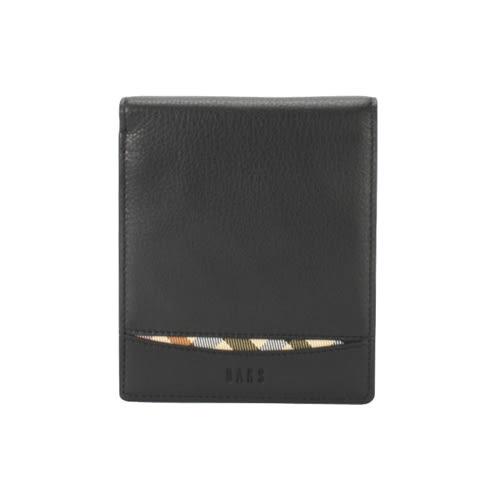 DAKS全皮革斜格紋飾帶八卡短夾(黑色)230726