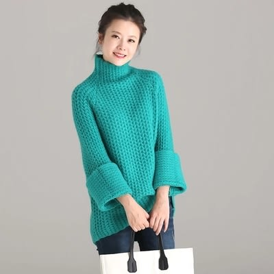 棉質毛衣 文藝 加厚 插肩袖 高領 針織毛衣-M1160-夢想家- 0918
