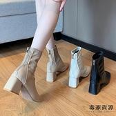 馬丁靴女英倫風單靴方頭粗跟瘦瘦高跟鞋短靴子【毒家貨源】