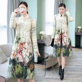 【免運】靚絲面棉襖女中長款輕薄外套復古中國風印花修身大尺碼洋裝 隨想曲