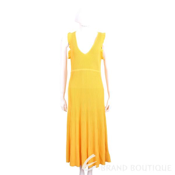Michael Kors V領質感黃坑條針織洋裝 1920771-66