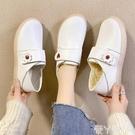 小白鞋 護士鞋女軟底2020冬季秋冬新款加厚棉鞋厚底豆豆鞋皮鞋小白鞋 愛丫愛丫