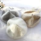 秋冬韓版潮復古英倫蓓蕾帽日系純色畫家帽針織ins 兔毛絨貝雷帽女 喵小姐