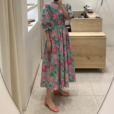 日系洋裝~長版長裙~韓系泡泡袖圓領大花松緊腰連身裙 3色#2693N515愛尚布衣