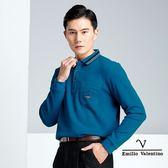 【Emilio Valentino】簡約素面保暖透氣 吸濕排汗POLO衫 - 湖藍