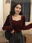 春秋韓版2021新款修身顯瘦方領露鎖骨絲絨打底內搭長袖襯衫上衣女 韓國時尚週