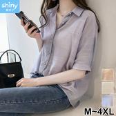 【V3093-1】shiny藍格子-瑕疵特賣.純色蕾絲拼接翻領中長袖襯衫上衣