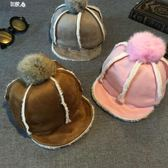 兒童毛線帽韓版兒童鹿皮毛絨棒球帽寶寶兔毛球軟帽檐冬季加厚男女嬰兒保暖帽