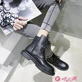 馬丁靴 馬丁靴女2021春秋新款網紅帥氣短靴百搭英倫風機車厚底單靴潮 小天使 99免運