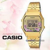 CASIO 卡西歐手錶專賣店 國隆 LA680WGA-4C 電子女錶 不鏽鋼錶帶 玫瑰花圖樣 防水 碼錶功能  LA680WGA