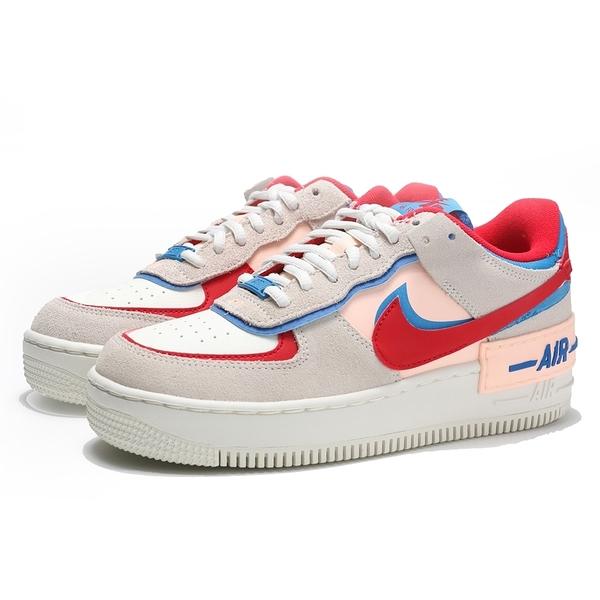 NIKE 休閒鞋 AIR FORCE 1 SHADOW 白粉藍 解構 馬卡龍 男女 (布魯克林) CU8591-100