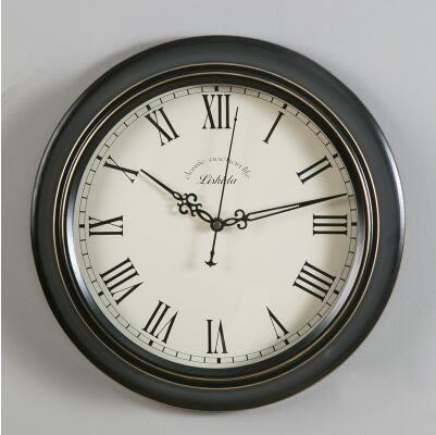 美式鐘錶掛鐘客廳圓形靜音歐式現代簡約黑色裝飾復古掛錶【01】
