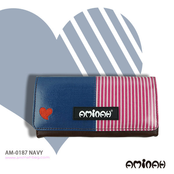鏡面 愛心條紋 長夾 / 皮夾 / 手拿包 藍色 AMINAH~【am-0187】