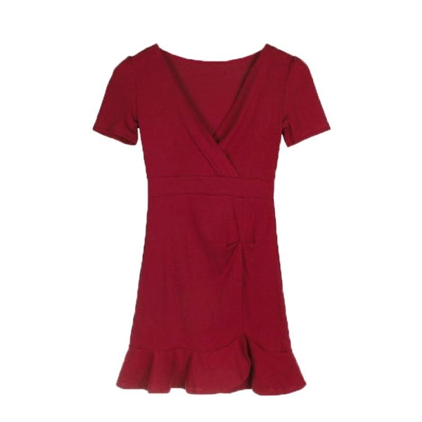 夜店女裝v領低胸性感洋裝短款夏收腰修身顯瘦漏胸包臀裙魚尾裙 檸檬衣舍