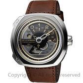 SEVENFRIDAY V2 設計師工藝自動上鍊機械錶-銀x咖啡/50mm V2
