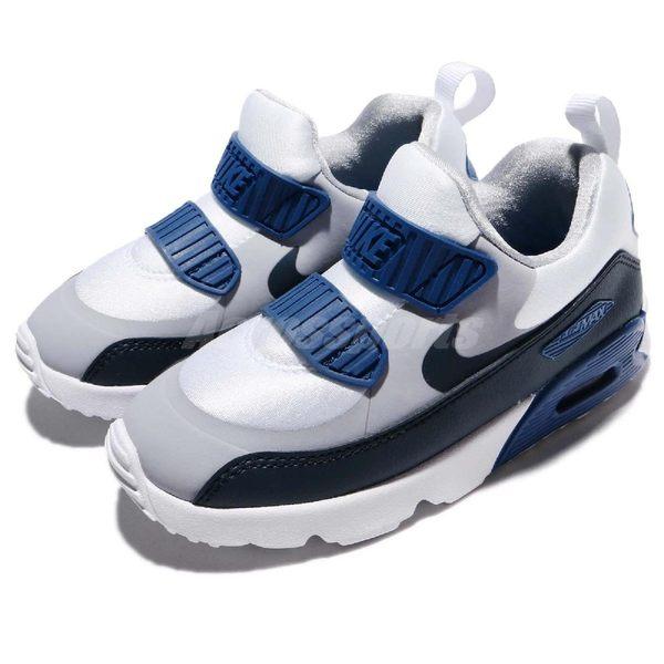 Nike 復古慢跑鞋 Air Max Tiny 90 TD 灰 藍 黑 白底 免綁鞋帶 氣墊 休閒鞋 童鞋 小童鞋【PUMP306】 881924-003