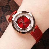女式手錶 金色時尚女士手錶女錶鑲鑽真皮錶帶石英時裝防水潮錶 俏腳丫