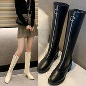 性感馬丁靴女粗跟過膝長靴前拉鍊高筒網紅瘦瘦騎士靴 - 風尚3C