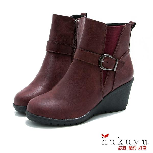 短靴 經典時尚皮帶釦側拉鍊短靴(紅) *HUKUYU【18-2960-3r】【現貨】