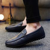 豆豆鞋男士韓版英倫休閒鞋皮鞋一腳蹬懶人鞋青少年透氣男鞋   蓓娜衣都