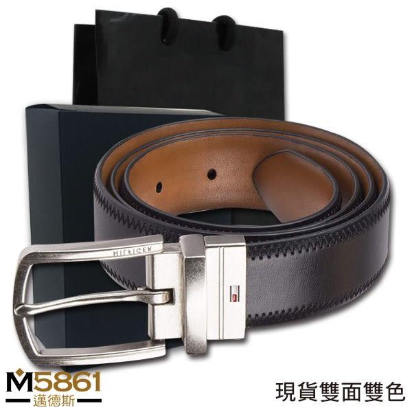 【Tommy】Tommy Hilfiger皮帶 雙面雙色 三彩LOGO設計 銀扣頭/黑+棕