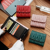 [菲寶]2020新款羊皮小ck褶皺錢包女短款三折迷你小卡包皮夾子錢夾 蘇菲小店