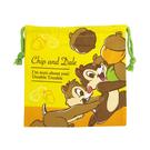 【日本進口正版】奇奇蒂蒂 帆布 束口袋 收納袋 抽繩束口袋 迪士尼 Disney - 047154